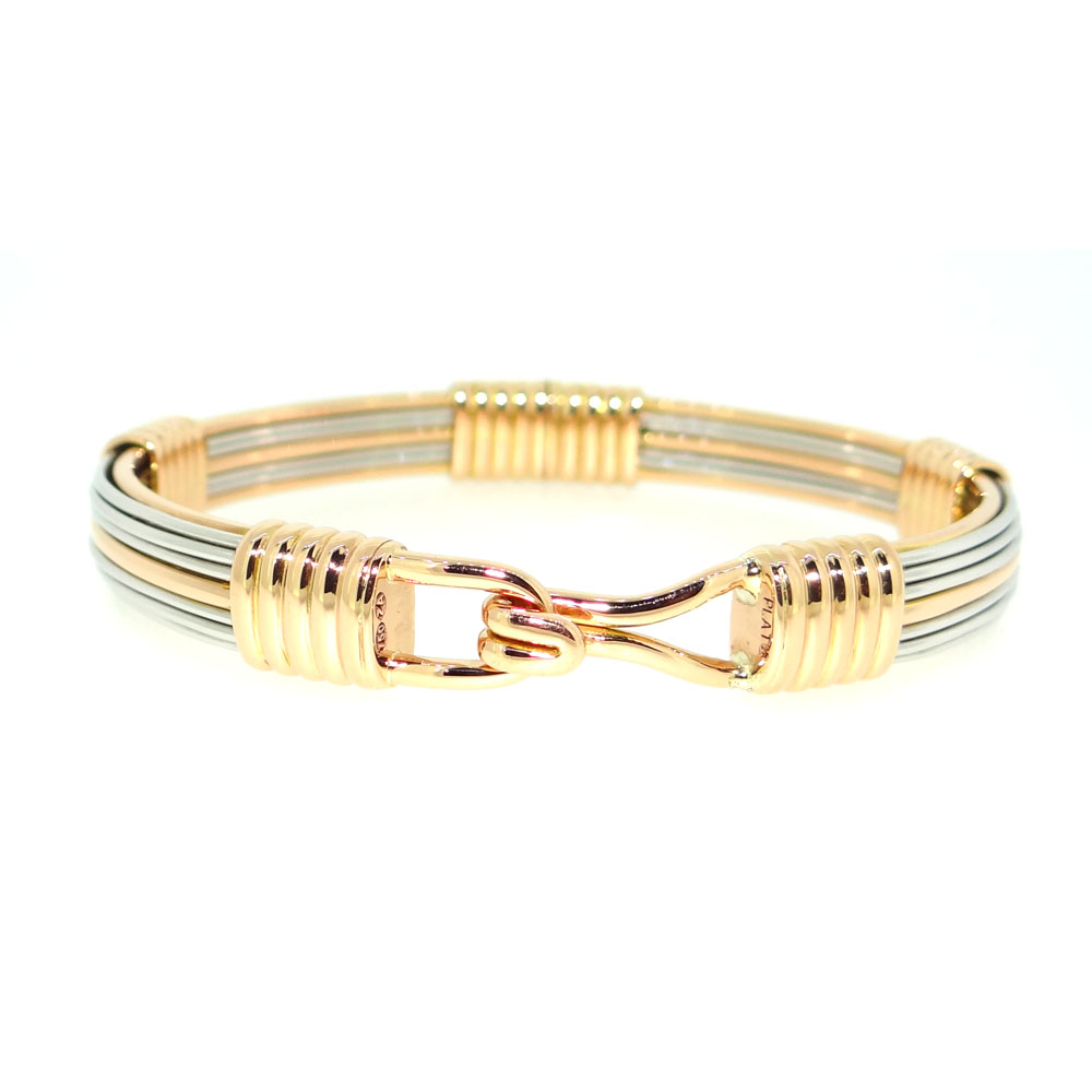 Gold & Platinum Elephant Hair Bangle