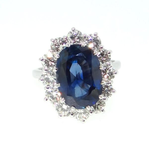 5.83cts Blue Sapphire & Diamond Ring