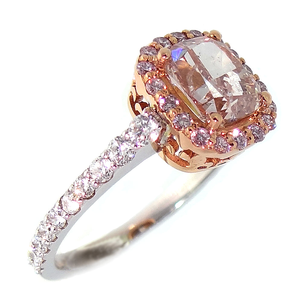 1.51ct Cushion cut Fancy Pink Diamond Ring