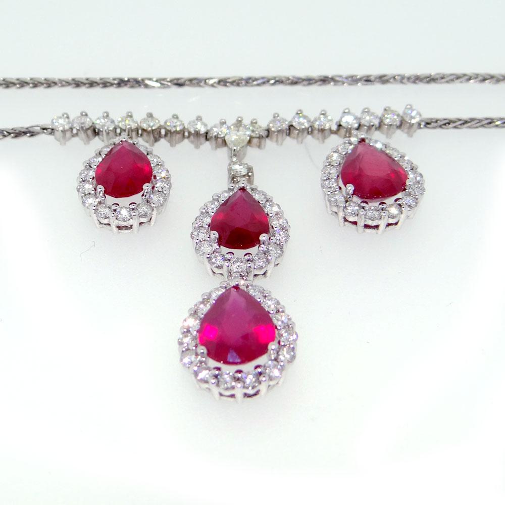 Four Drop Ruby & Diamond Necklace